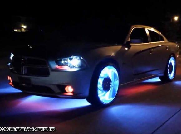 چراغ ال ای دی نئونی فایر تایر در شب با ماشین