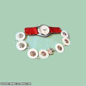 ساعت مچی میراندا با بند صدفی و چرم قرمز
